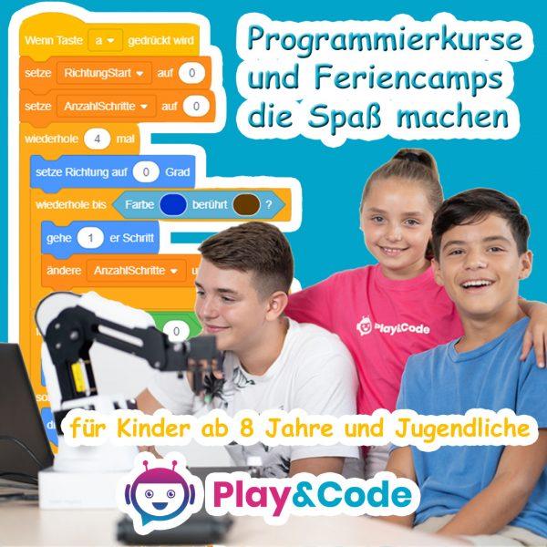 Kinder, die Kurse bei Play&Code besuchen.