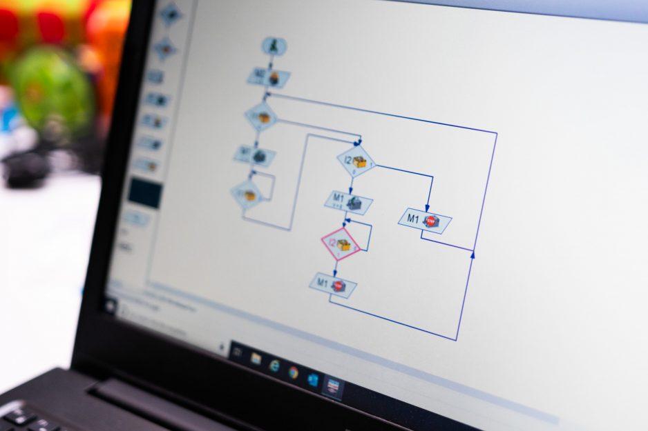 Ein Bildschirm mit einem Programm für Lego Roboter