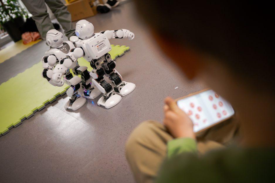 Ein Kind steuert und programmiert einen Alpha Roboter