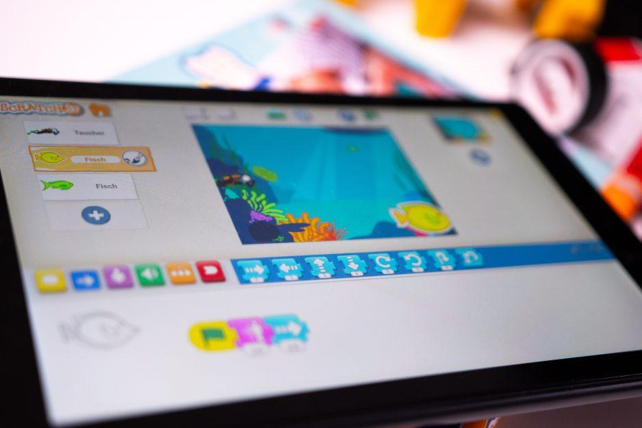 Tablet mit Scratch Junior Programm für Vorschulkinder